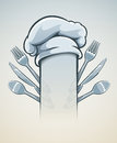 Kitchen utensils for cooking fork knife spoon and cap eps vector illustration Stock Photos