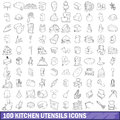 100 kitchen utensils icons set, outline style