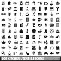 100 kitchen utensils icons set, simple style