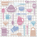 Kitchen utensils illustration of and cutlery sticker style Stock Images