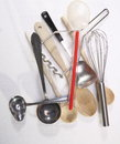 Kitchen utensils overhead view of a group of assorted Royalty Free Stock Images