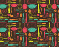 Kitchen utensils seamless pattern in vintage style Royalty Free Stock Photography