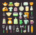 Kitchen utensils set of colorful used for cooking breakfast or dinner Stock Photos