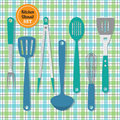 Kitchen utensils set icons on blue and green plaid pattern background Royalty Free Stock Photo