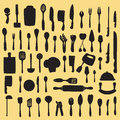 Kitchen utensils silhouette vector illustration of cooking set Royalty Free Stock Photography