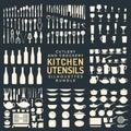 Kitchen utensils silhouettes bundle Royalty Free Stock Photo