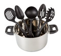 Kitchen utensils in stainless steel cooking pot Stock Photo