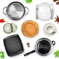 Kitchen utensils, top view vector object
