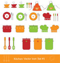 Kitchen vector icon set Stock Photos