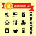 Kitchen ware quality icon set Royalty Free Stock Photo