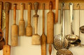 Kitchen ware on the wall hanging taken closeup Stock Image
