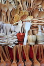Kitchen wooden utensils assorted different Stock Image