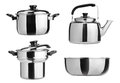 Kitchenware. Group of stainless steel kitchenware Royalty Free Stock Photography