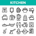 Kitchenware Line Icon Set Vector. Home Kitchen Tools Symbol. Classic Kitchenware Cooking Icons. Thin Outline Web