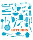 Kitchenware objects set and icons isolated on white background for cooking household and restaurant logo design Stock Photo