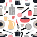 Kitchenware seamless pattern. Stylized hand drawn doodle dishes. Colorful vector illustration. Royalty Free Stock Photo