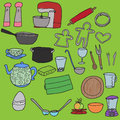 Kitchenware set of hand drawn Stock Image