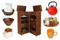 Kitchenware set of retro collection isolated on white background Stock Image