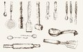 Kitchenware set of vector sketches Royalty Free Stock Photo