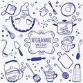 Kitchenware silhouette of doodles collection Royalty Free Stock Photos