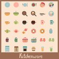 Kitchenware vintage icons food dish set Royalty Free Stock Photos