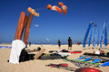 Kite competition on summer beach Stock Photos