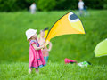 Kite festival moscow may unidentified child flies at the in the park tsaritsyno on may in moscow Royalty Free Stock Photography