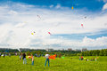 Kite festival moscow may unidentified people fly kites at the in the park tsaritsyno on may in moscow Stock Photos