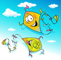 Kite flying on blue sky - vector Royalty Free Stock Photo