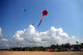 Kite flying over sanur beach bali indonesia Royalty Free Stock Images