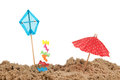 Kite and parasol at the beach Stock Photos