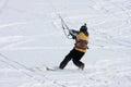 Kite skier man skiing on the snow Stock Photo