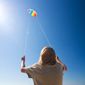 Kite on the sky blue background Royalty Free Stock Photo