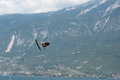 Kite surfer in the air at lake garda, italy Royalty Free Stock Photo