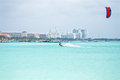 Kite surfer on Aruba island in the Caribbean Royalty Free Stock Photo