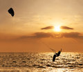 Kite surfer jumping from the water Royalty Free Stock Photo