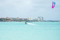 Kite surfer on Palm Beach at Aruba island in the Caribbean Royalty Free Stock Photo