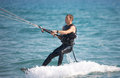 Kite surfer in sea waves Royalty Free Stock Photos