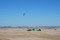 Kite surfing on the beach in Pescara Stock Photo