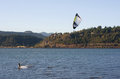 Kite surfing on the columbia river near hood oregon Stock Image