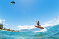 Kite surfing fun in the ocean extreme sport Stock Image