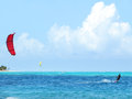 Kite surfing surfer in the caribbean sea Royalty Free Stock Photo