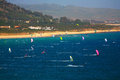 Kite surfing tarifa spain may in spain on may is one of the most popular places in spain for Royalty Free Stock Photo