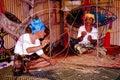 Kite (Wau) Making Royalty Free Stock Images