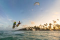 Kiteboarding. Fun in ocean. Extreme Sport Kitesurfing. Royalty Free Stock Photo