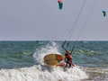 Kiter jumping from wave to wave Royalty Free Stock Photo