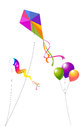 Kites and balloons colorful collection of Stock Photo