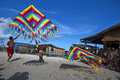 Kites flying the local people was playing in semporna island in sabah on apr Royalty Free Stock Images