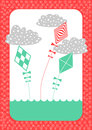Kites Retro Invitation Card Royalty Free Stock Photography