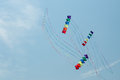 Kites in the sky colorful soaring against blue summer kite festival canal days international kite show city of port colborne Stock Photography